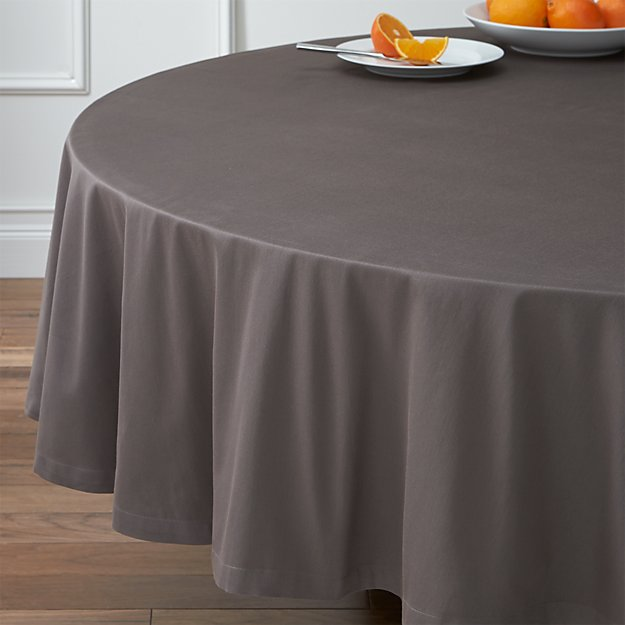 """Fete Pewter Grey 90"""" Round Tablecloth"""