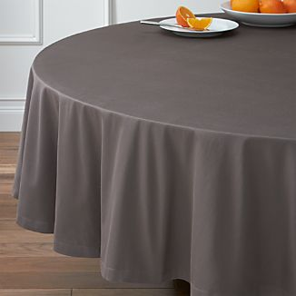 "Fete Pewter Grey 90"" Round Tablecloth"