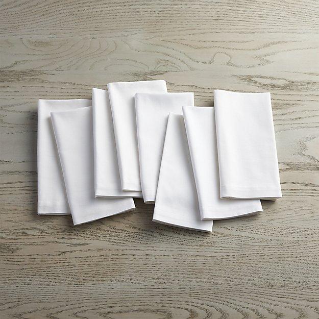 Fete White Cloth Napkins, Set of 8 - Image 1 of 5