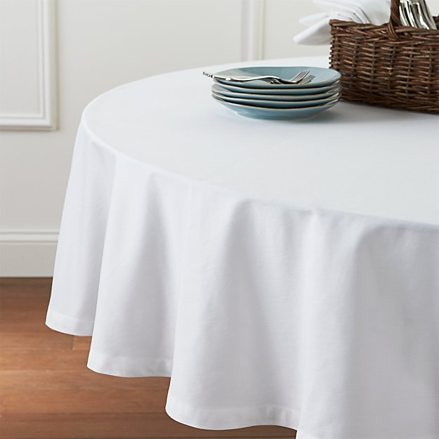 "Fete White 90"" Round Tablecloth"