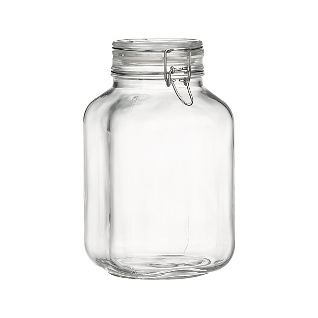 Italian glass storage jar with clamped lid from Crate & Barrel.
