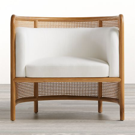 Fields Cane Back White Accent Chair By