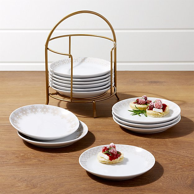 Filigree Appetizer Plates with Stand, Set of 12 - Image 1 of 4