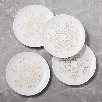filigree gold plates set of 4 - Christmas Plates