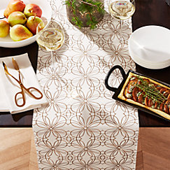 Filigree Gold 120 Embroidered Table Runner