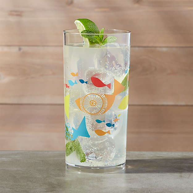 Acrylic Fish Drinking Glasses 19 Oz Crate And Barrel