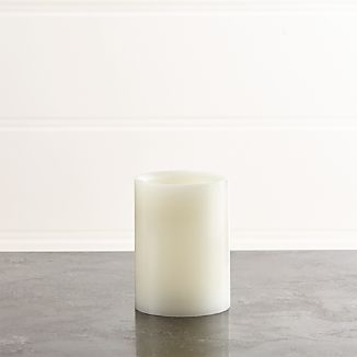 "Flameless White 3""x4"" Pillar Candle with Timer"