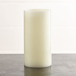 "Flameless Ivory 4""x8"" Pillar Candle with Timer"