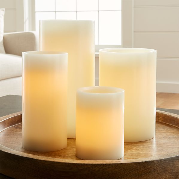 Flameless Ivory Pillar Candles with Timer