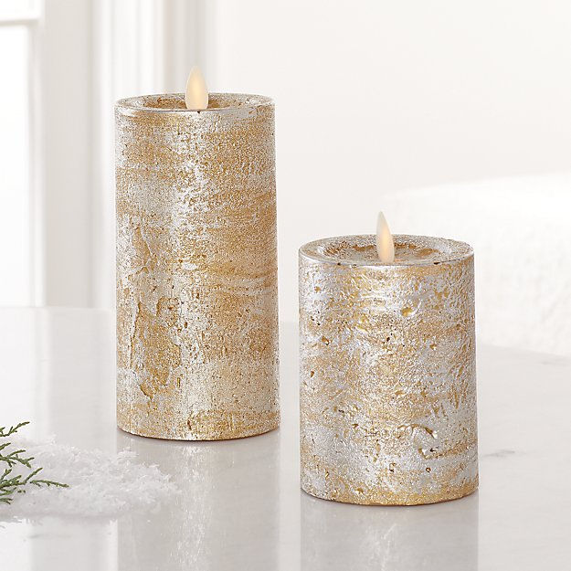 Champagne Pillar Candles - Image 1 of 3