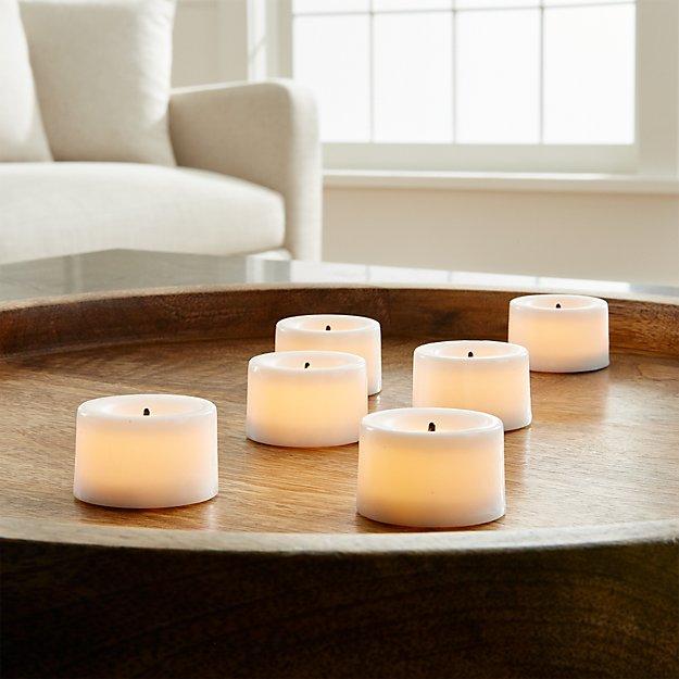 Flameless White Tea Lights, Set of 6 - Image 1 of 5