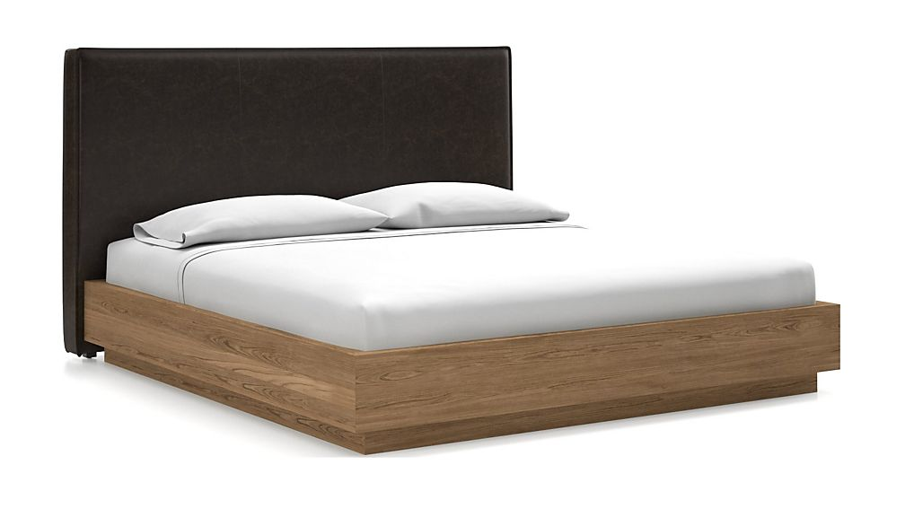 Flange King Headboard with Batten Plinth-Base Bed Espresso Faux Leather - Image 1 of 1