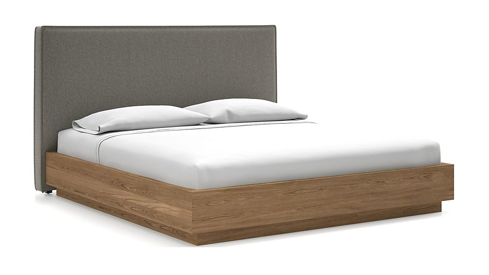 Flange King Headboard with Batten Plinth-Base Bed Felt Grey - Image 1 of 1