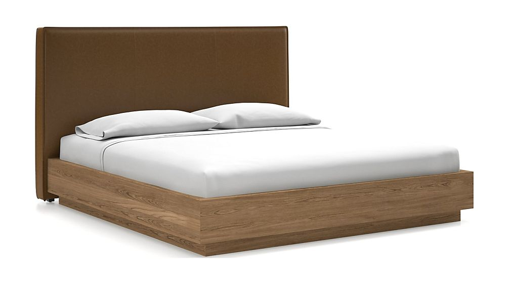 Flange King Headboard with Batten Plinth-Base Bed Faux Saddle Leather - Image 1 of 1