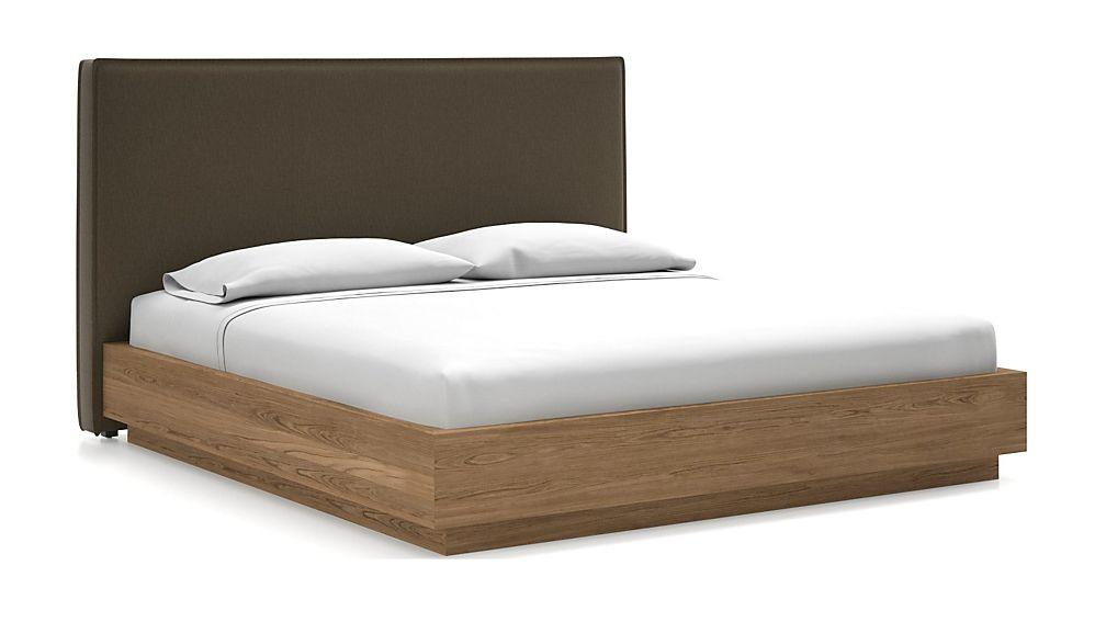 Flange King Headboard with Batten Plinth-Base Bed Bark - Image 1 of 1