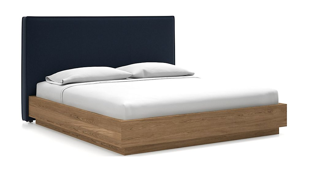 Flange King Headboard with Batten Plinth-Base Bed Sapphire - Image 1 of 1