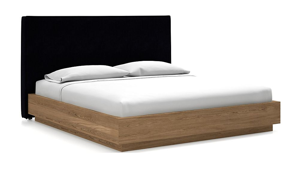 Flange King Headboard with Batten Plinth-Base Bed Midnight - Image 1 of 1