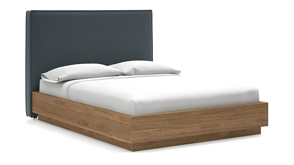 Flange Queen Headboard with Batten Plinth-Base Bed Navy - Image 1 of 1