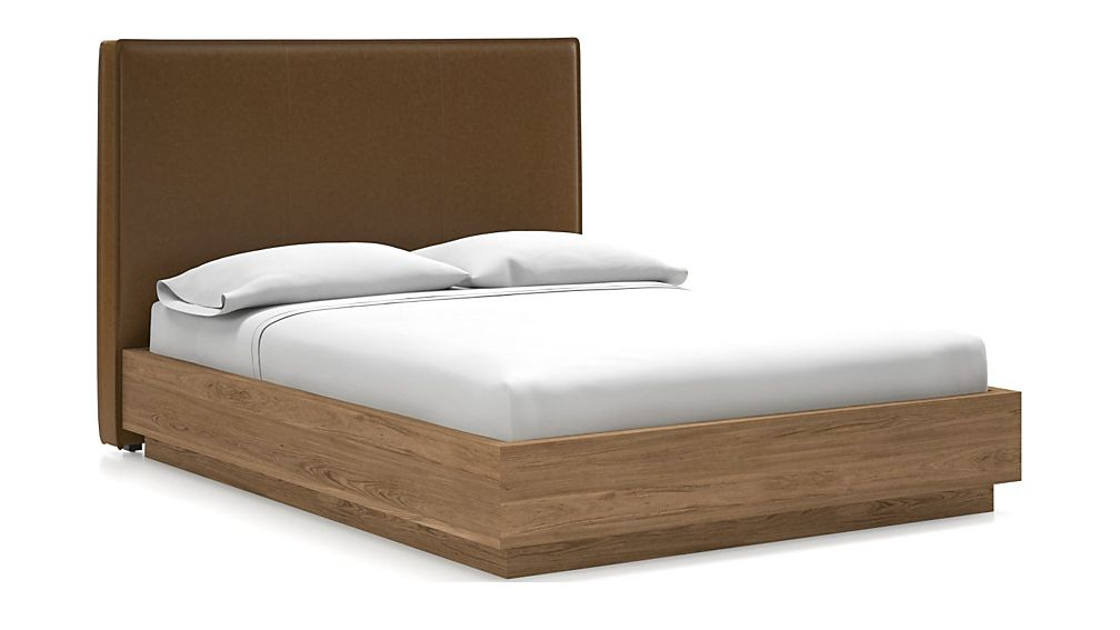 Flange Queen Headboard with Batten Plinth-Base Bed Faux Saddle Leather - Image 1 of 1