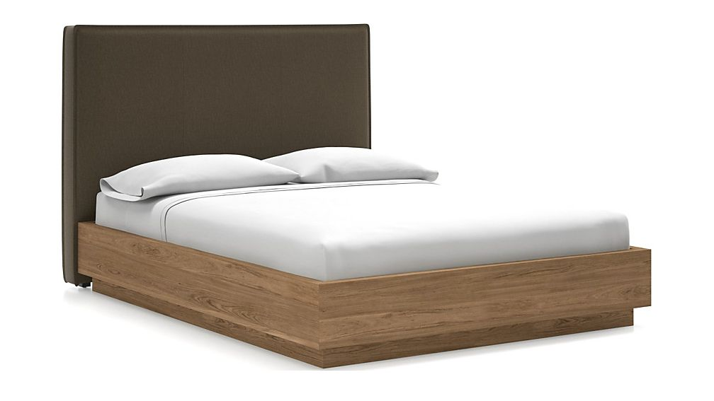Flange Queen Headboard with Batten Plinth-Base Bed Bark - Image 1 of 1