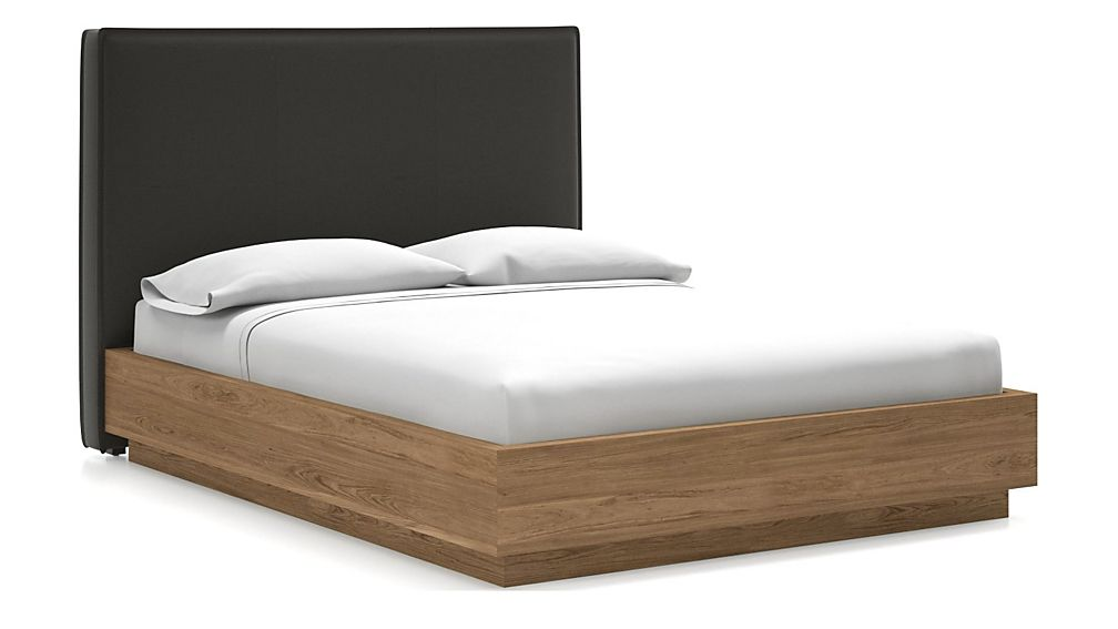 Flange Queen Headboard with Batten Plinth-Base Bed Carbon - Image 1 of 1
