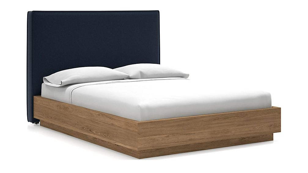 Flange Queen Headboard with Batten Plinth-Base Bed Sapphire - Image 1 of 1