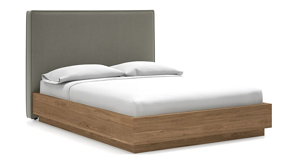 Flange Queen Headboard with Batten Plinth-Base Bed Dove - Image 1 of 1