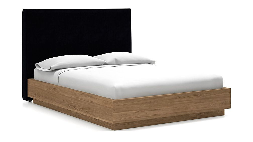 Flange Queen Headboard with Batten Plinth-Base Bed Midnight - Image 1 of 1