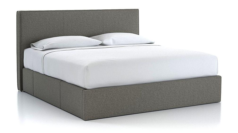 Flange King Upholstered Headboard with Storage Base Grey - Image 1 of 3