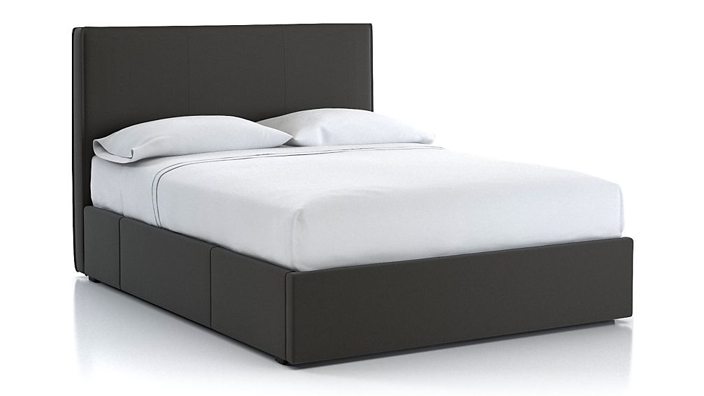 Flange Queen Upholstered Headboard with Storage Base Carbon - Image 1 of 3