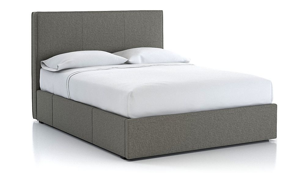 Flange Queen Upholstered Headboard with Storage Base Grey - Image 1 of 3