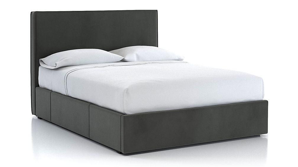 Flange Queen Upholstered Headboard with Storage Base Fog - Image 1 of 3