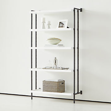 Pleasant Bookcases Wood Metal And Glass Crate And Barrel Interior Design Ideas Clesiryabchikinfo