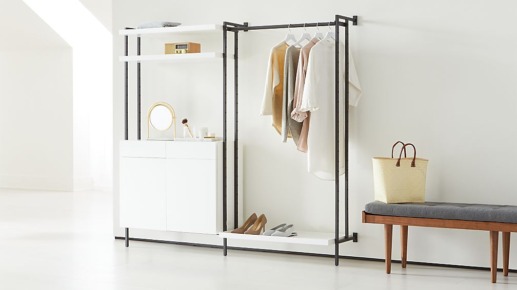Flex Modular Clothing Rack And Closed Storage Cabinet With
