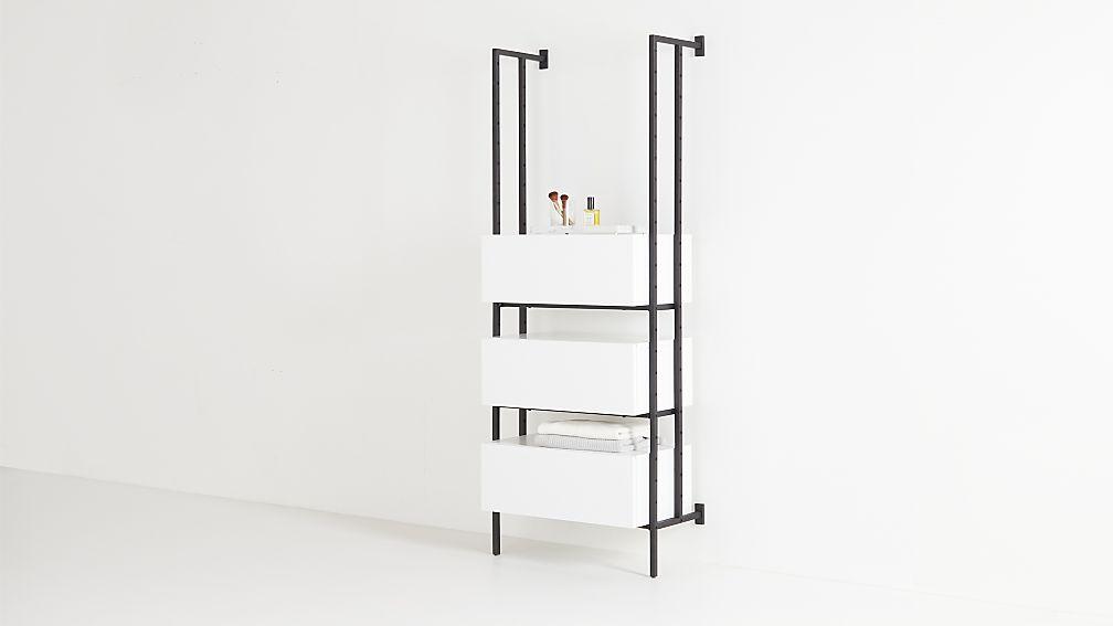 Flex White 3-Drawer Bookcase - Image 1 of 5