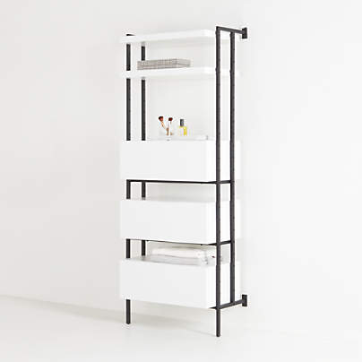 View testFlex White 3-Drawer, 2-Shelf Bookcase