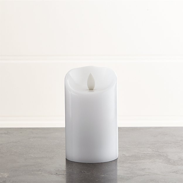 "Flicker Flameless White 3""x5"" Pillar Candle"