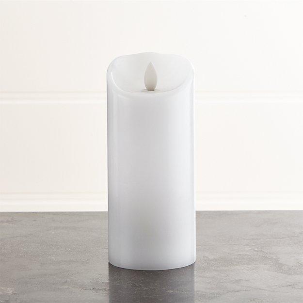 "Flicker Flameless White 3""x7"" Pillar Candle"