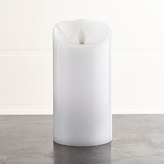 "Flicker Flameless White 4""x7"" Pillar Candle"