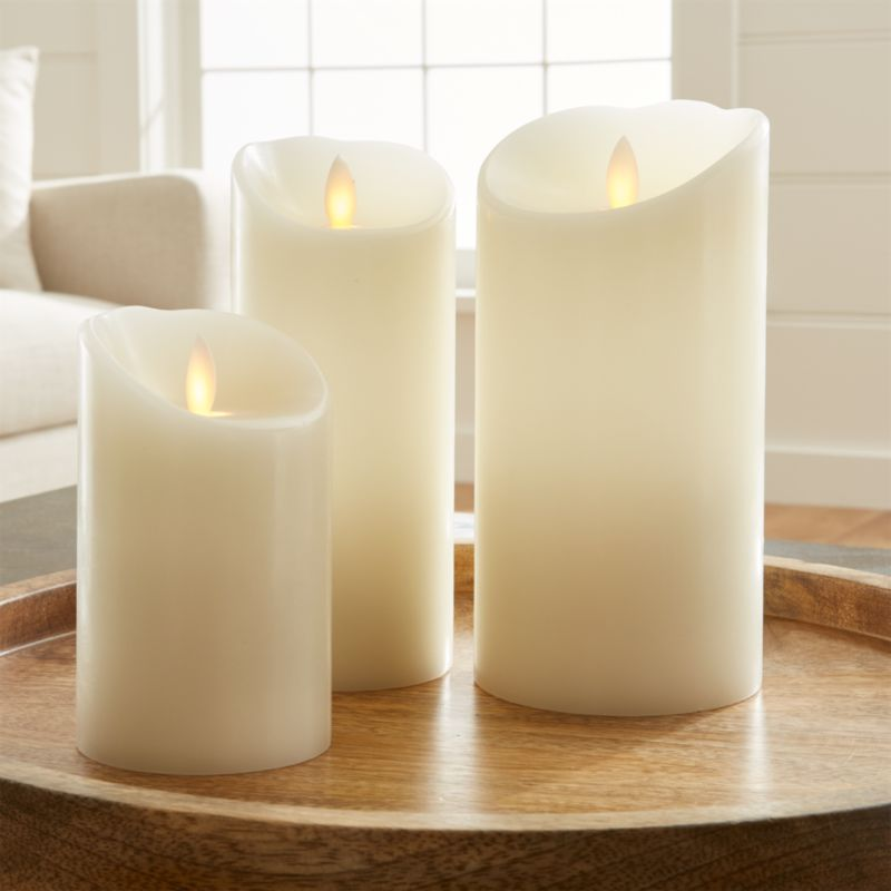 Flicker Flameless Ivory Pillar Candles Crate And Barrel