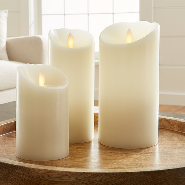 Flicker Flameless Ivory Pillar Candles - Image 1 of 8