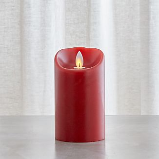 Flicker Flameless Red 3x5 Pillar Candle with Timer