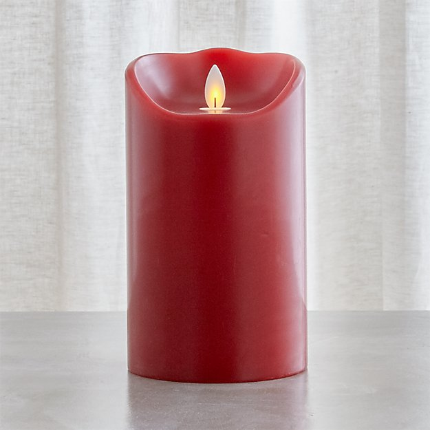 Flicker Flameless Red 4x7 Pillar Candle with Timer