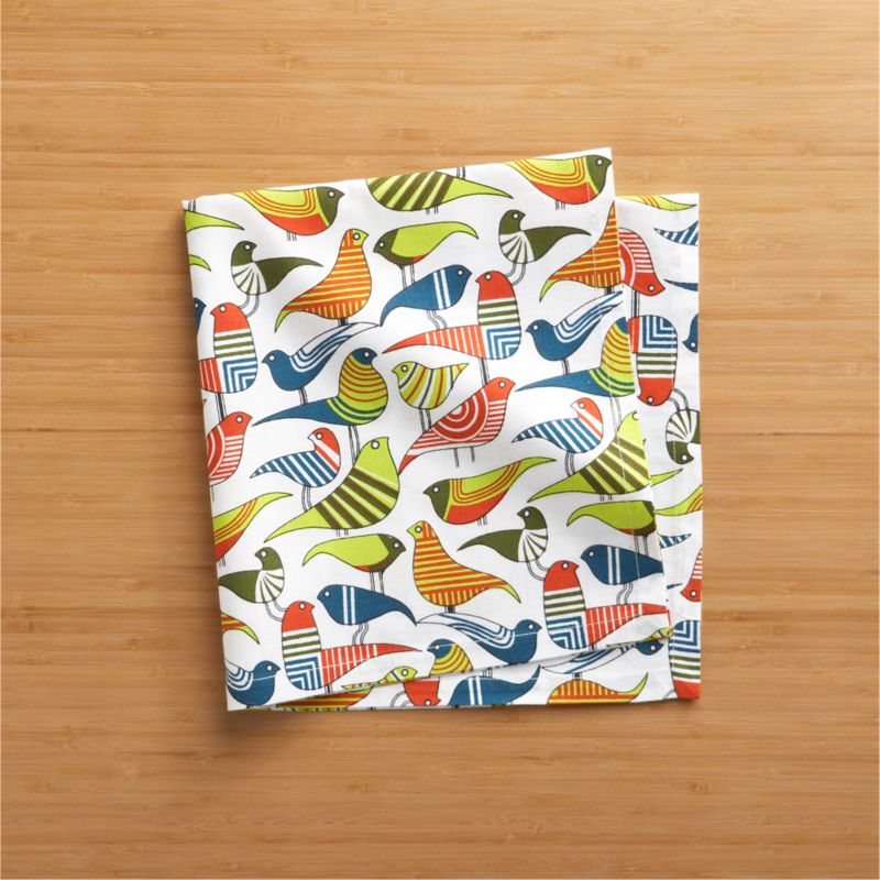Table settings take flight with addition of this colorful flock of whimsically rendered birds, printed on 100% cotton.<br /><br /><NEWTAG/><ul><li>100% cotton</li><li>Machine wash cold, dry flat; warm iron as needed</li></ul>