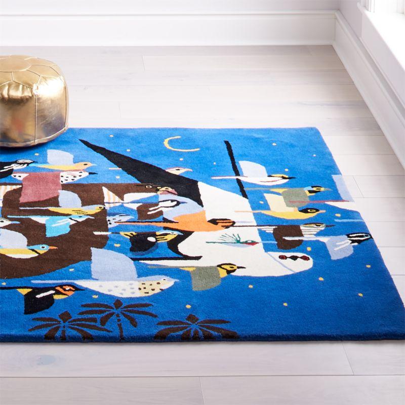 Charley Harper Blue Bird Rug Crate And Barrel