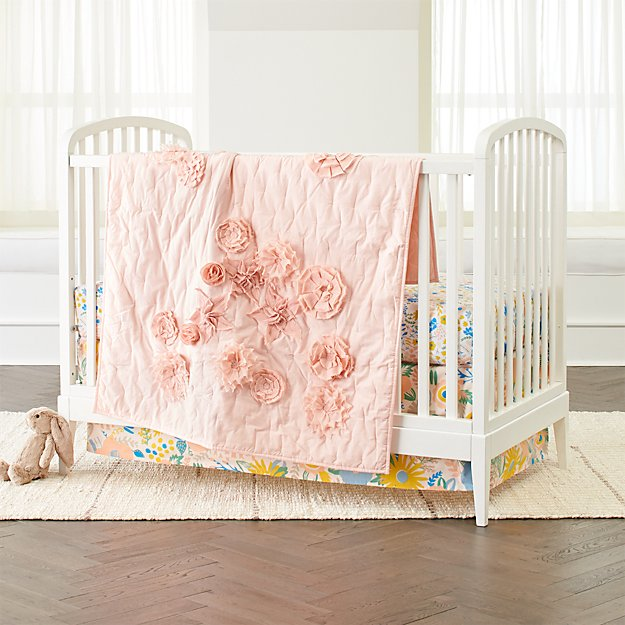 Adorable Full Kids Bedroom Set For Girl Playful Room Huz: Blooming Floral Crib Bedding
