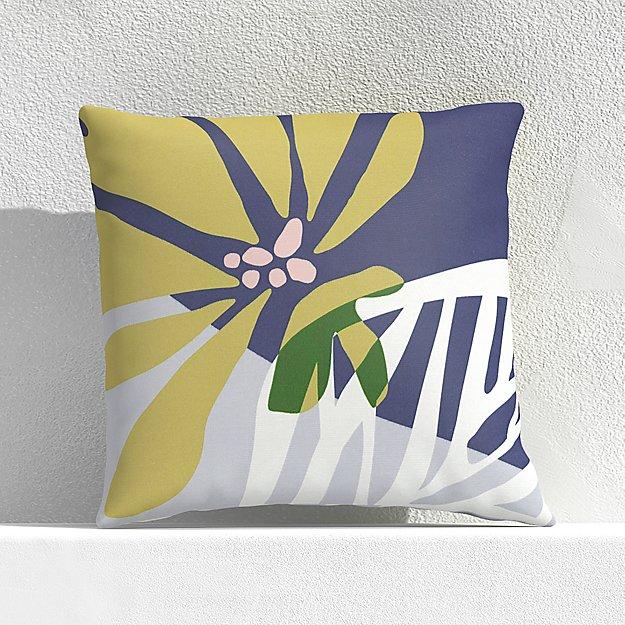 """Floral Skeleton Leaf 20"""" Outdoor Pillow - Image 1 of 3"""