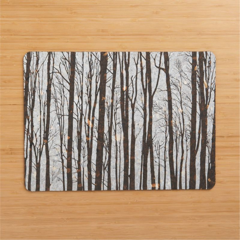 Nature-inspired placemat plays canvas to a thicket of fog-cloaked trees, printed on 100% cork and coated with a wax seal for easy clean-up. Naturally non-slip and recyclable.<br /><br /><NEWTAG/><ul><li>100% cork with wax seal</li><li>Wipe with damp cloth</li></ul>