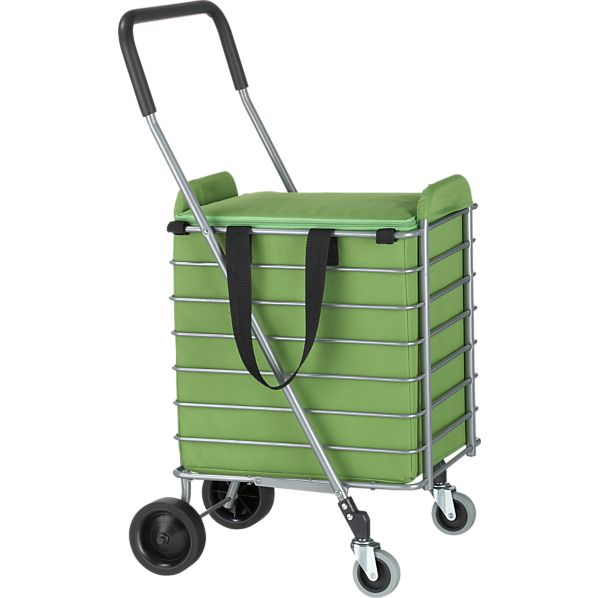 Folding Shopping Cart with Green Insulated Cart Liner