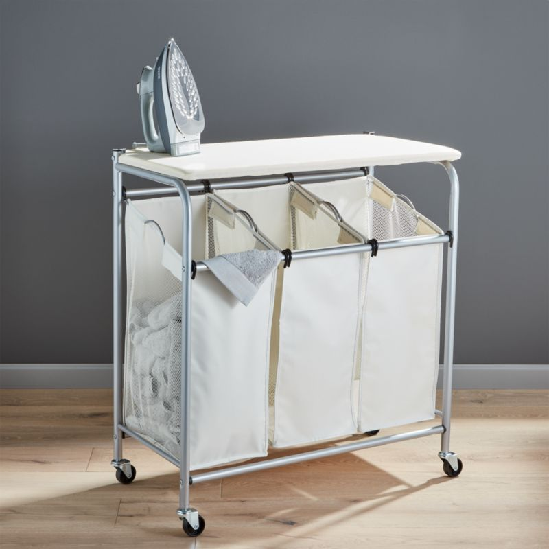 laundry sorter with ironing board crate and barrel